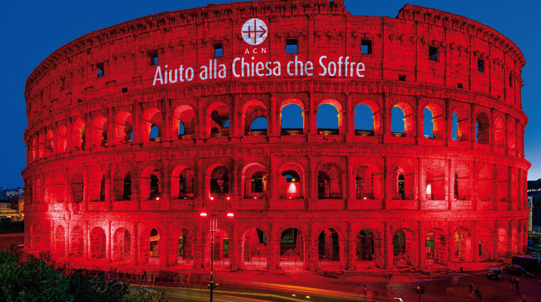Advertising for the Event - ACN TO ILLUMINATE COLISEUM IN RED – AND CHURCHES IN ALEPPO AND MOSUL AT THE SAME TIME on 24 February 2018 at around 6 p.m.