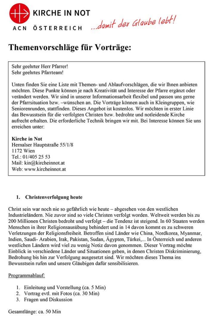 Vortragsangebot <br>von KIRCHE IN NOT