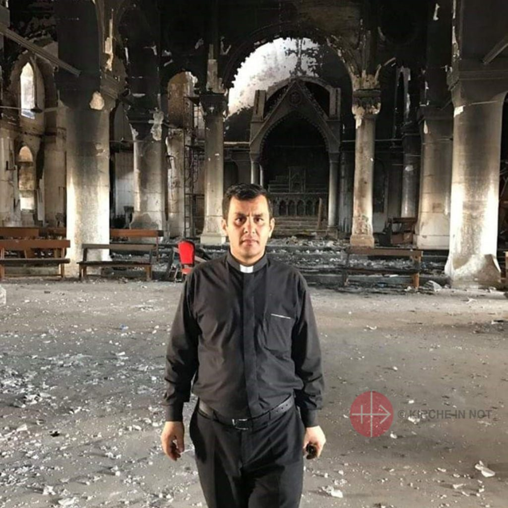 """Iraq Fr. Ammar Yako in  Al-Tahira Church, Baghdeda/Qaraqosh. He told to ACN what the papal visit to Iraq in March 2021 means to him: """"The papal visit is the thing we have longed for most of all here. It will be a great blessing. We have a great yearning to see him. What gives added importance to this visit is the so very vulnerable situation that we are suffering as Christians in Iraq.  ..."""""""