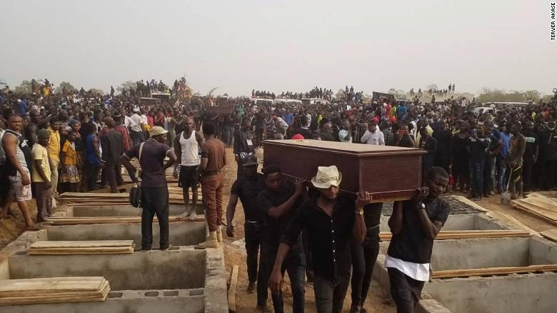 A mass funeral at Genabe villageThe height of this genocide against poor villagers took place on January 1st 2018 (new year's day). More than  80 persons were killed including women and children and thousands displaced from their homes. There is a mass burial site at Genabe village, in Makurdi- Benue State that reminds all of this infamous day.Photos taken out of the Presentation ACN-20210930-117425.pdf from IPIC - the quality of the single files is very low.
